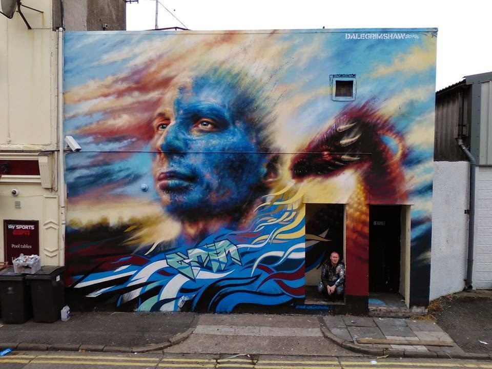 Along with several others artists, Dale Grimshaw spent a few days in Cardiff, Wales for the Empty Walls Street Art Festival.