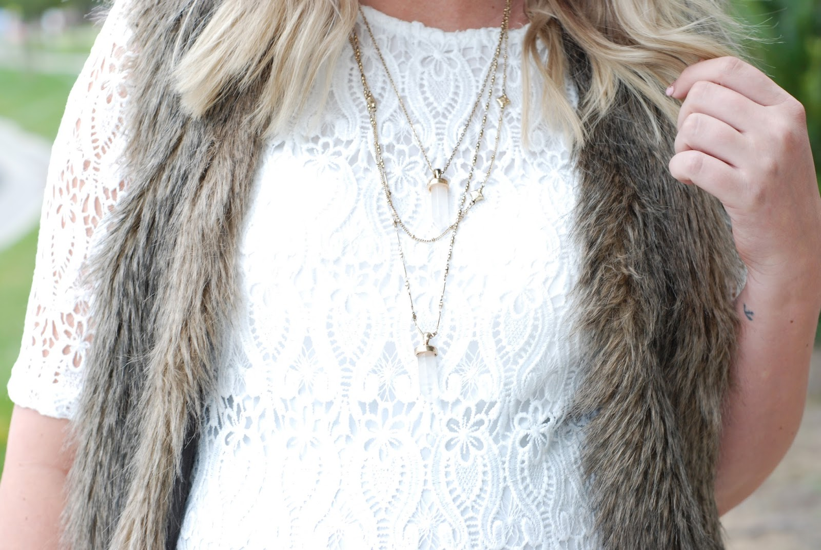 Jane Stone Jewelry, Fur Vest, Lace