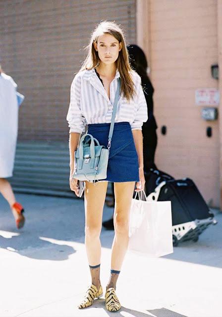 denim skirt street style trend
