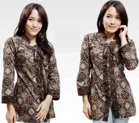 15+ Model Baju Batik Lengan Panjang Wanita Modern 2020