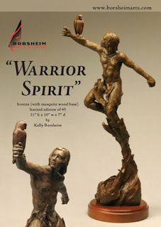 Warrior Spirit bronze sculpture male model man and bird detail Borsheim