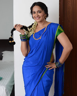Anushka Shetty New Pos In Blue Saree (3)