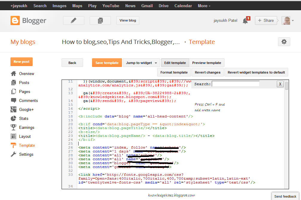Add Meta name in XML Blogger Template