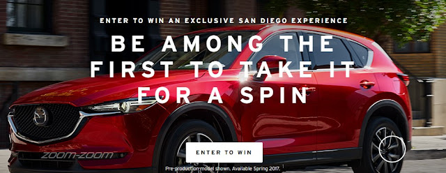 Mazda USA is giving you a chance to enter once to win an exclusive San Diego Experience to be among the first to take their new 2017 Mazda CX-5 for a spin!
