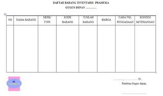 contoh format lembar pendataan barang inventaris pramuka