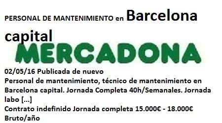 Lanzadera de Empleo Virtual Barcelona, Oferta Mercadona