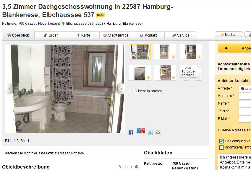 3 5 zimmer dachgeschosswohnung in 22587 hamburg blankenese. Black Bedroom Furniture Sets. Home Design Ideas