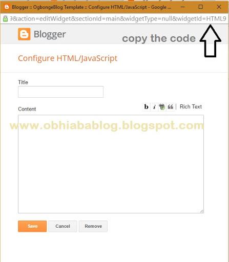 find blogger widget id