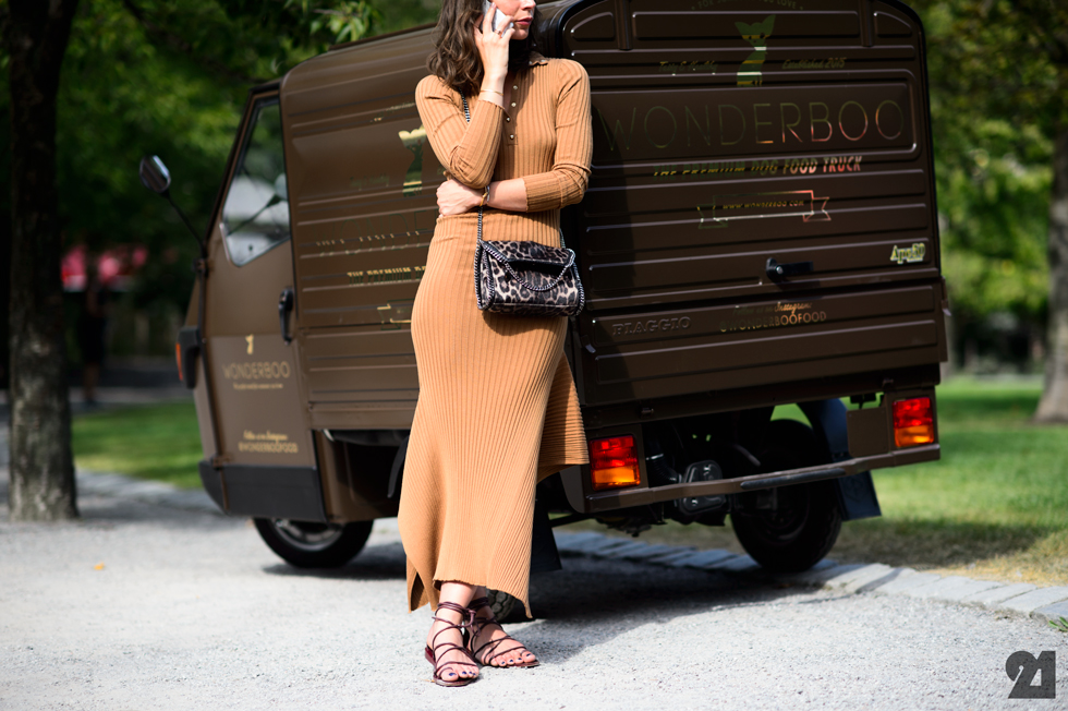 Irina Lakicevic - Mustard Knit Dress, Lace Up Sandals, Stockholm Fashion Week Street Style