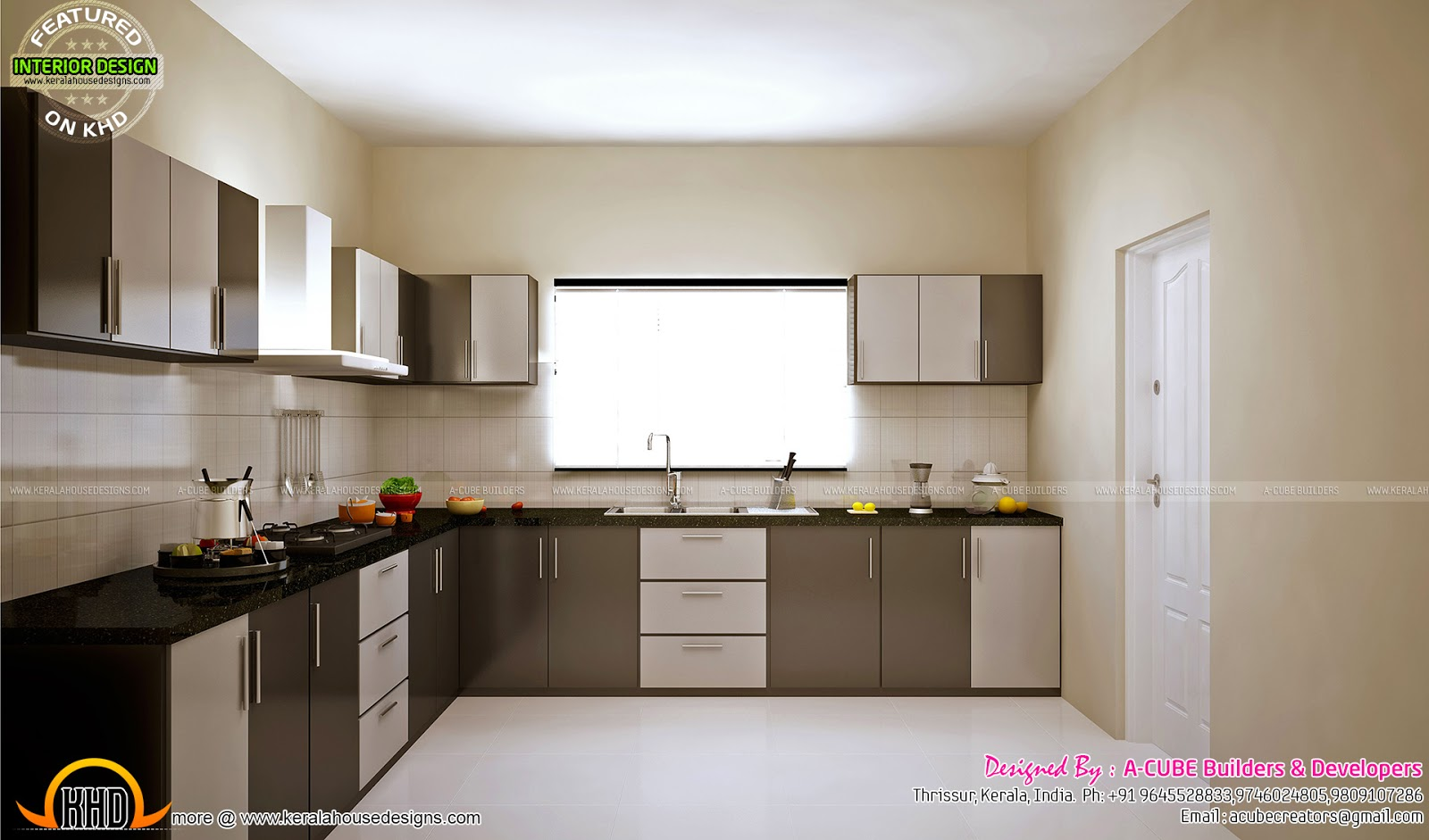 Kitchen and master bedroom designs  Kerala home design