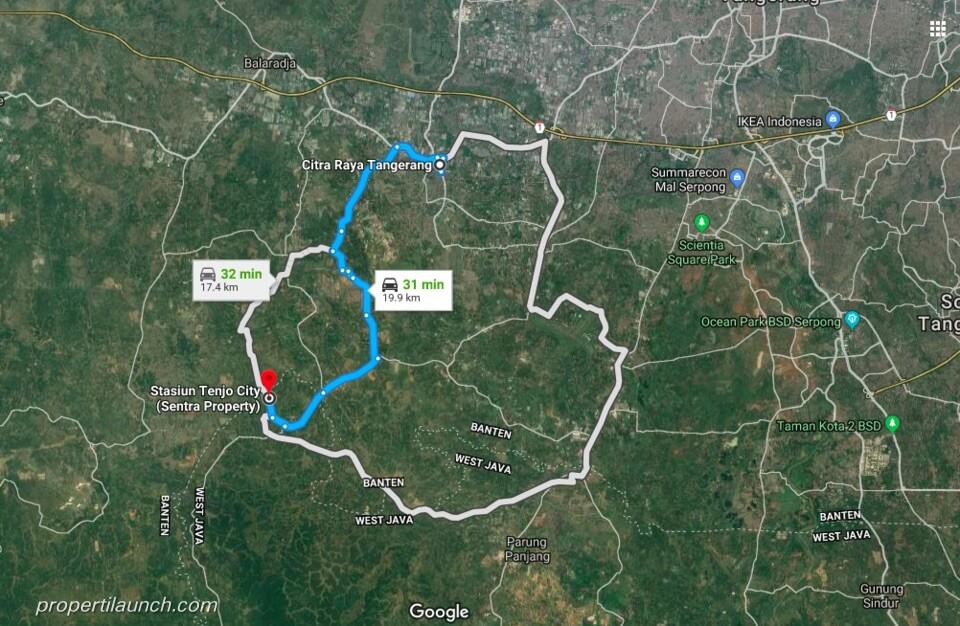 Lokasi Tenjo City ke Citra Raya Tangerang