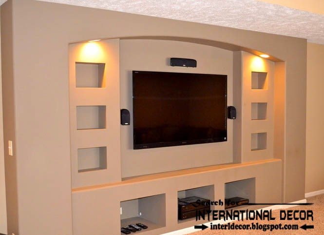 built in shelves and TV wall shelves of plasterboard with led lighting