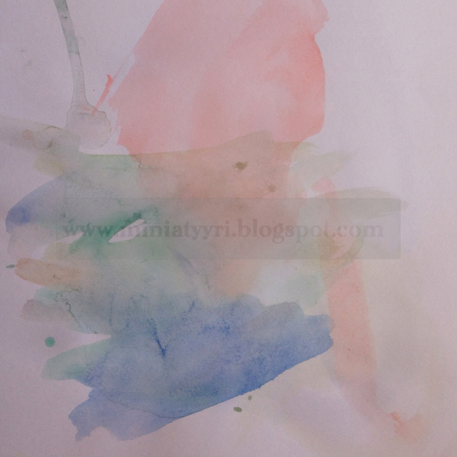 Kolmevuotiaan lapsen vesivärimaalaus - Small child painted with watercolours | Miniatyyria
