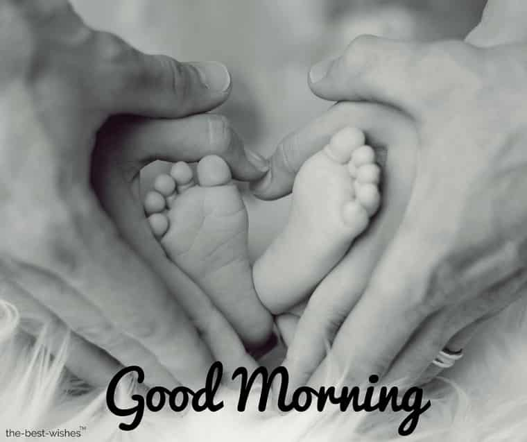 good morning with a baby feet father mother