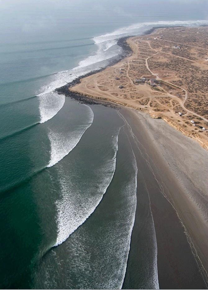 Wave refraction - San juanico baja california sur, Mexico