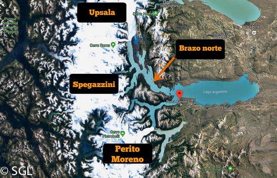 Mapa del Recorrido de la excursión navegando entre glaciares. Calafate