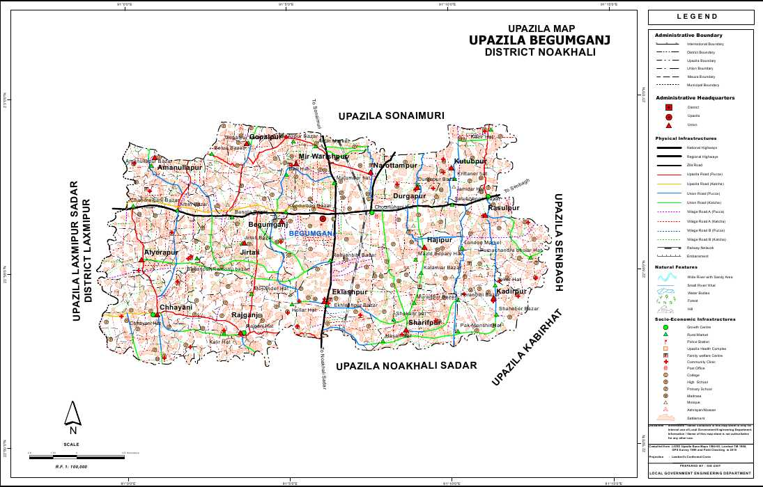 Begumganj Upazila Map Noakhali District Bangladesh