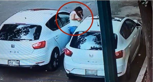 Una mujer en la CdMx busca un vehículo igual al suyo y se roba uno de sus espejos (VIDEO)
