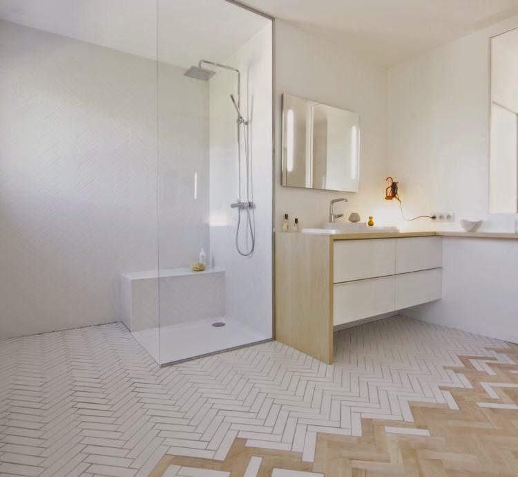 podłoga cementowo drewniana, płytki cementowe i drewno,