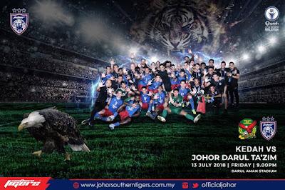 Live Streaming Kedah vs JDT Liga Super 13.7.2018