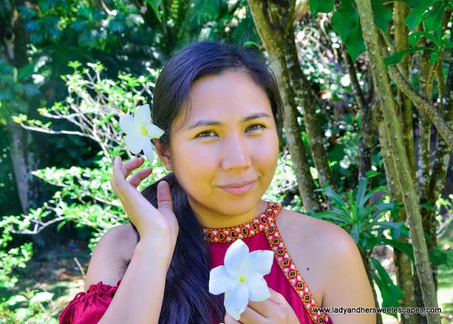 Lady in Seychelles Botanical Garden