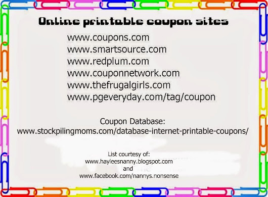 Updated List of printable coupon sites