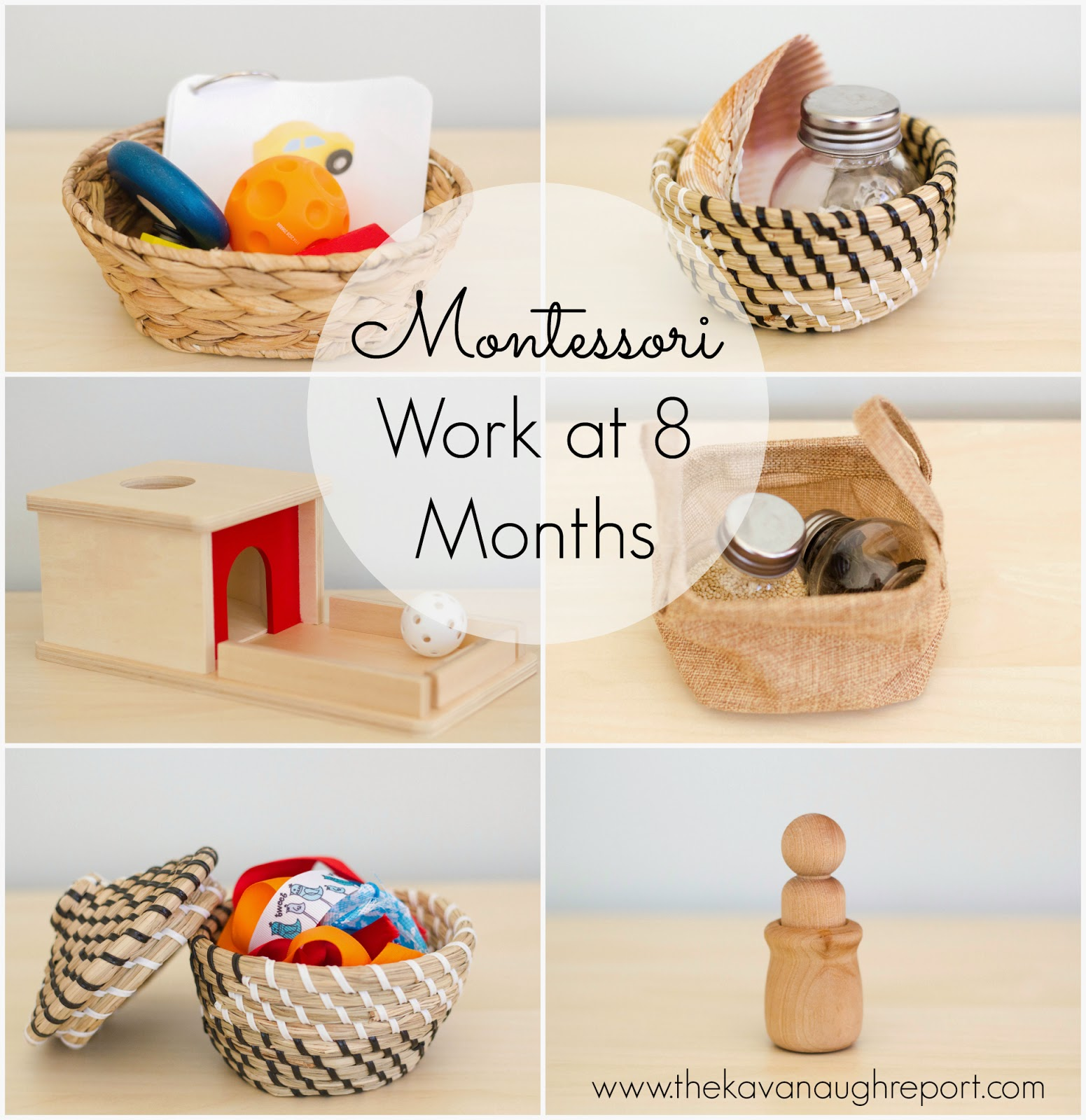 Montessori baby play at 8-months-old. Here are some Montessori work ideas for babies.