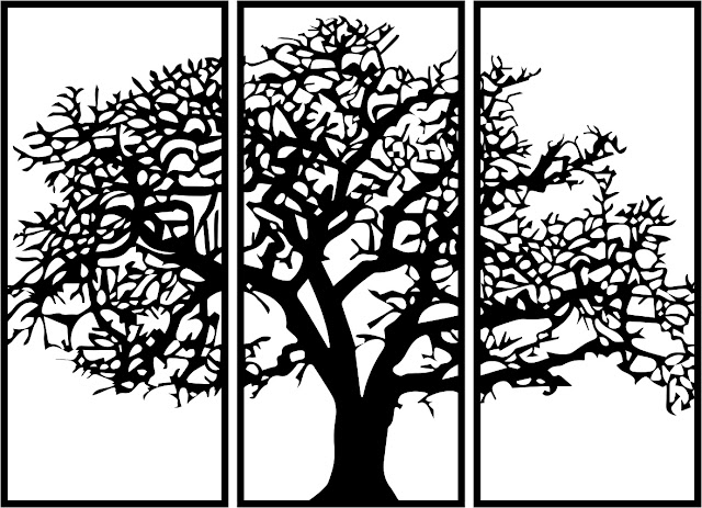 Panel Decor Rectangle Tree free dxf file