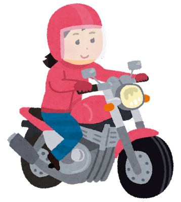 バイクに乗る女性のイラスト
