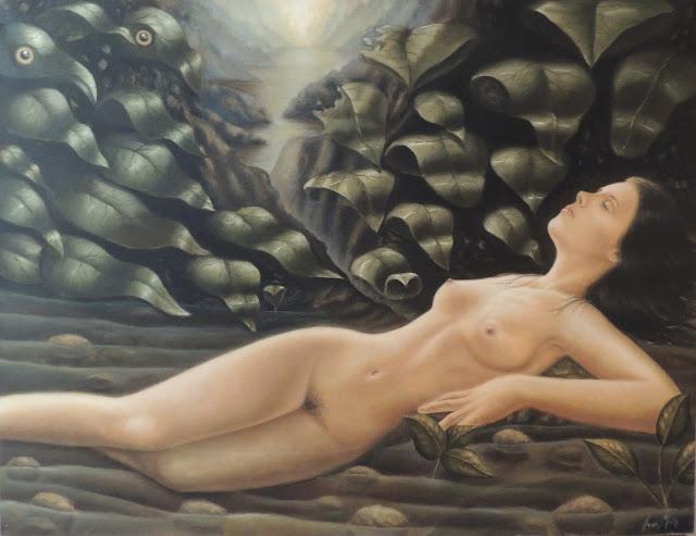 Pintura hiperrealista desnudo mujer artista catalán Joan Mir