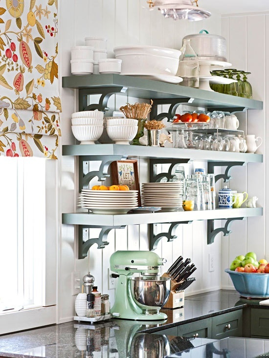 This stacked open shelving is packed with a nice collection of dishes