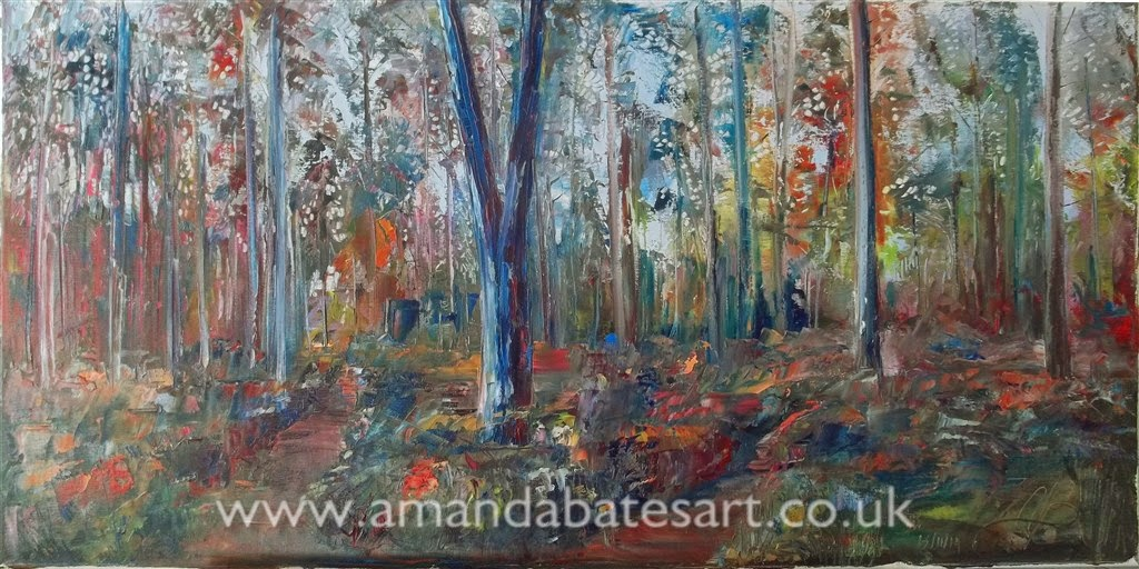 Large landscape painting of trees in oils; Impressionist style; panoramic format