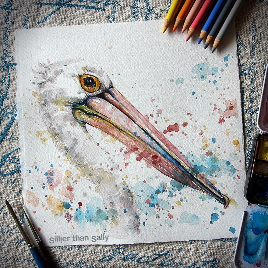 07-Majestic-Pelican-Sally-Walsh-sillierthansally-Watercolour-Portraits-Paintings-of-Wildlife-www-designstack-co