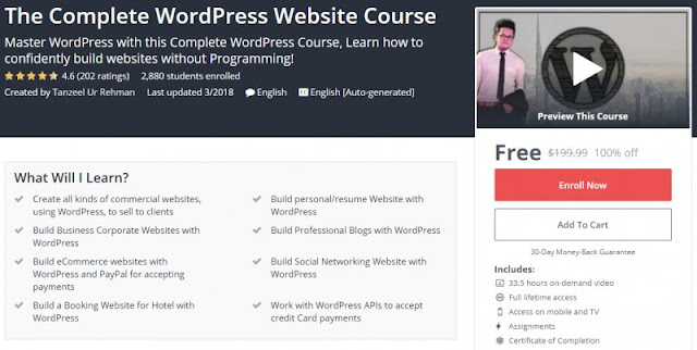 [100% Off] The Complete WordPress Website Course| Worth 199,99$
