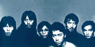 Mariah from left to right Takayuki Hijikata, Hideo Yamaki, Masanori Sasaji, Jimmy Murakawa, Yasuaki Shimizu, Morio Watanabe © Senji Urushibata (from Marginal Love inner sleeve, 1981)