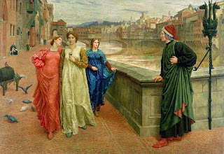 A beautiful depiction of Dante and Beatrice in Florence, by the English artist Henry Holliday in 1883
