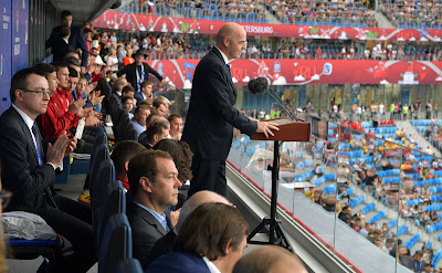 FIFA President Gianni Infantino at the opening ceremony of the 2017 Confederations Cup.