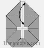 Bước 5: Gấp cạnh tờ giấy xuống dưới để tạo nếp gấp, sau đó lại mở ra.