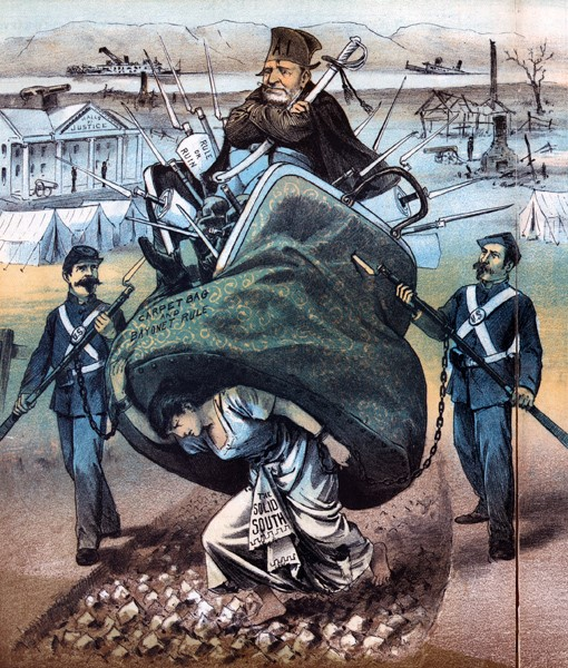 "This editorial cartoon by James Albert Wales shows a northern ""carpetbagger"" accompanied by Union soldiers. The heavy bag nearly crushes the ""Solid South"" on which it sits, suggesting the North's determination to destroy the former Confederacy. ("