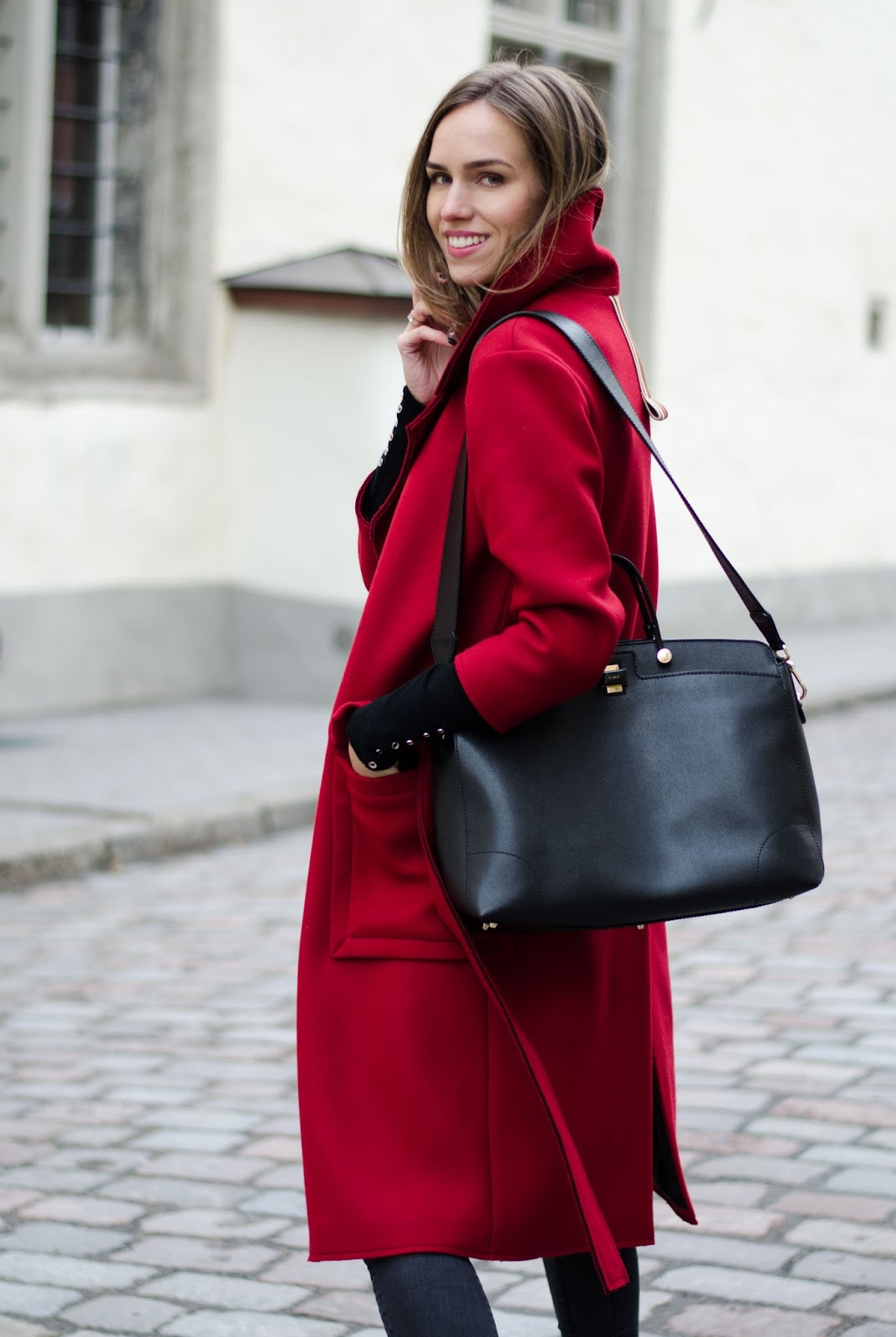 red coat winter outfit