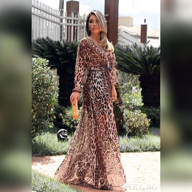 Μακρυμάνικο μάξι χρωματιστό φόρεμα SOFTLEO