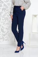 Pantaloni LaDonna albastri-inchis office cu talie inalta