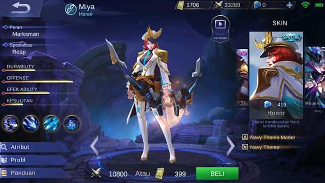 Skin Miya - Honor Dijual dengan Diamond!