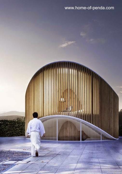 Moderna casa de jardín pequeña circular de diseño orgánico en China