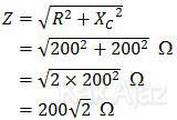 Penentuan impedansi rangkaian R-C seri, rumus impedansi (Z)