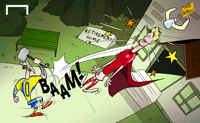Zlatan Ibrahimovic punchs Nicklas Bendtner cartoon