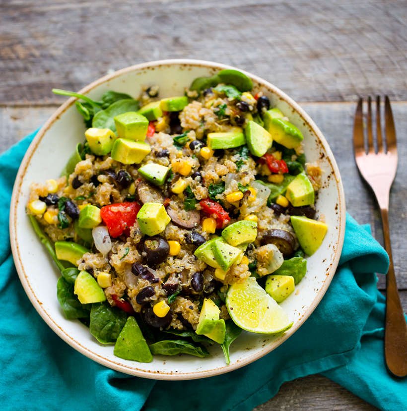Quinoa Corn Black Bean Fiesta Bowl