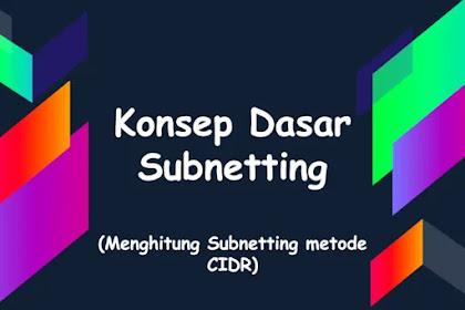 Konsep Dasar Subnetting dan Cara Menghitung Subnetting Metode CIDR