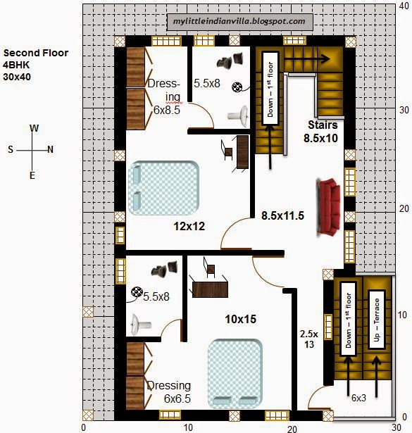 15 X 40 House Plan East Facing With Car Parking: My Little Indian Villa: #54#R47 4BHK In 30x40 (East Facing