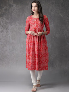 Anouk Women Red & White Printed A-Line Kurta